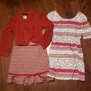 Size 7 and 8 dress skirt and shell sweater combo
